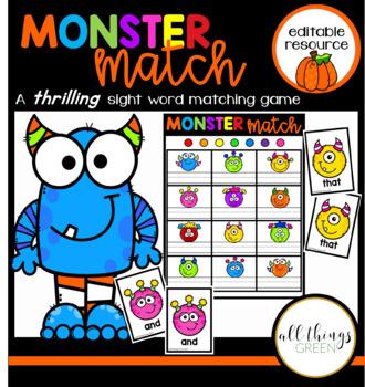 Halloween Monster Match {an editable sight word game}