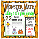 Halloween Monster Math 1's Addition (0-10) WITH AUDIO { Boom Cards }