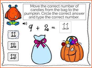 Halloween Monster Math 2's Addition (0-10) WITH AUDIO { Boom Cards }