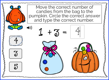 Halloween Monster Math 3's Addition (0-10) WITH AUDIO { Boom Cards }