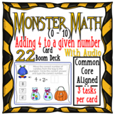 Halloween Monster Math 4's Addition (0-10) WITH AUDIO { Boom Cards }