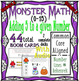 Halloween Monster Math Addition 5's (0-15) WITH AUDIO BUNDLE { Boom Cards }