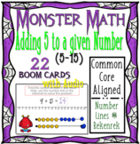 Halloween Monster Math Addition 5's (5 - 15) WITH AUDIO { Boom Cards }