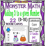 Halloween Monster Math Boom Cards 5's (0 through 10) WITH AUDIO { Boom Cards }