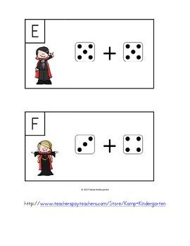 Halloween Monster Math Dice Add the Room