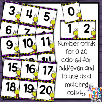 Halloween Monster Number Sense Math Center or Scoot Activity for 0-20