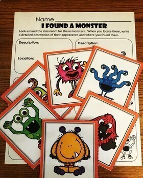 Halloween Monster Paragraph Writing Activity and Craft with Graphic Organizers