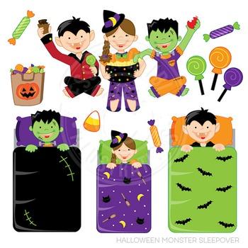 Halloween Monster Sleepover Cute Digital Clipart, Halloween Kids Clip Art