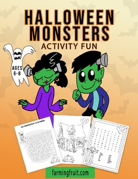 Halloween Monsters Activity Fun (Puzzles, Counting, Spelling, and More!)