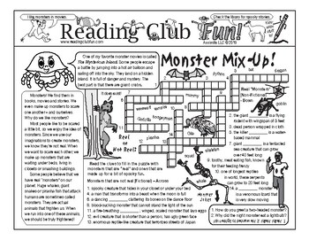 Halloween Monsters Two-Page Activity Set
