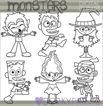 Halloween Monsters Blackline Clipart