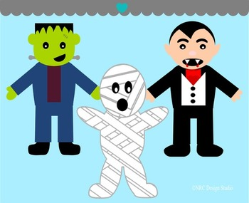 Halloween monsters clipart commercial use