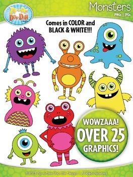 Halloween Monsters Clipart {Zip-A-Dee-Doo-Dah Designs}