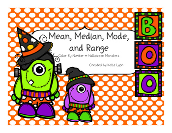 Halloween Monsters Color By Number - Mean, Median, Mode, and Range