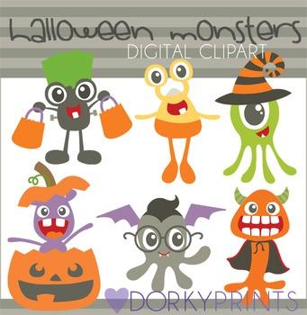 Halloween Monsters Digital Clip Art