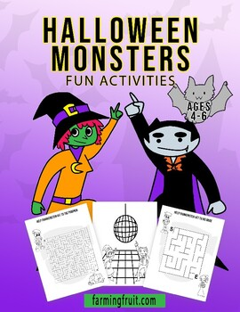 Halloween Monsters Fun Activities (Mazes, Counting, Alphabetizing, and More!)