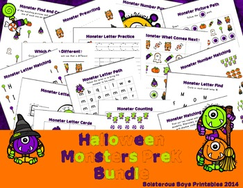 Halloween Monsters PreK Pack Bundle - Plus Bonus Freebie!