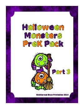Halloween Monsters PreK Printable Learning Pack - Part 3