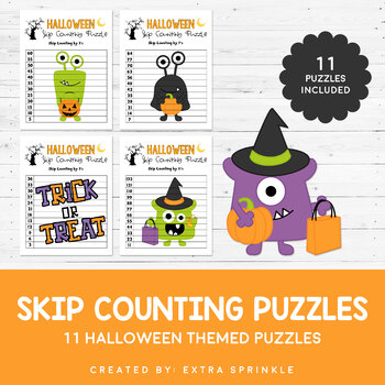 Halloween Monsters Skip Counting Puzzles  - Numbers 2 to 12