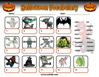 Halloween Monsters Vocabulary by ESL Kidz | Teachers Pay Teachers
