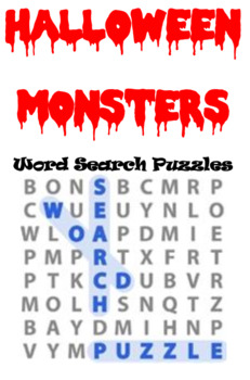 Halloween Monsters Word Search Puzzles