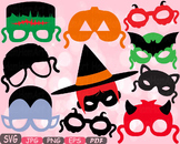 Halloween Monsters props kids masks clipart Photo Booth pumpkin birthday  -6P