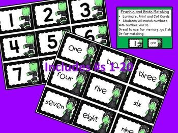 Halloween Monstrously Fun Math Centers  1-20, skip count 5s, 2s, 10s, add)