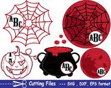 Halloween Moon spiderweb pumpkin EPS SVG DXF school teachers cutting cut -19S