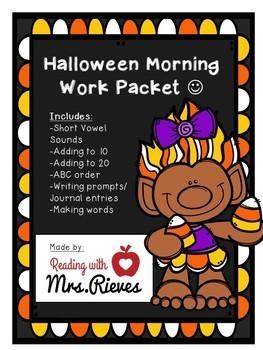 Halloween Morning Work Packet