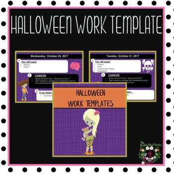 Halloween Morning Work Template