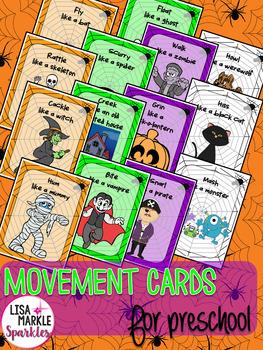 Halloween Movement Cards for Preschool and Brain Break
