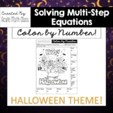 Halloween - Multi-Step Equation Coloring Activity
