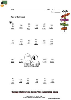 Halloween Multi-digit Addition and Subtraction