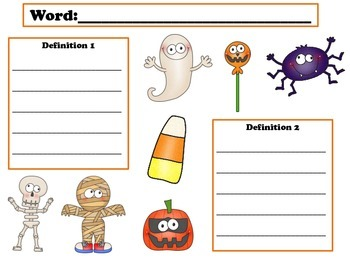 Halloween Multiple Meaning Words Game