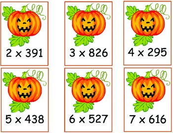 Halloween Multiplication 2-digit by 1-digit and 3-digit by 1-digit