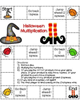 Halloween Multiplication: 26 Halloween board games (color and black/ white)