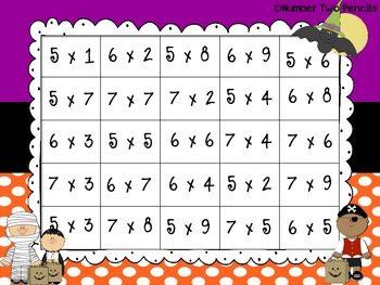 Halloween Multiplication 4 In a Row