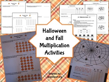 Halloween and Fall Multiplication Activities Aligned to Common Core
