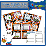 Halloween Multiplication Arrays Task Cards With Response Sheet and Answer Key