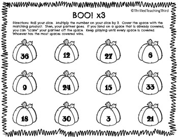 Halloween Multiplication BOO! A Knock-Off Game