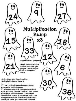 Halloween Multiplication Bump Games Fact Families 2 through 12