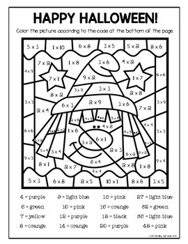 Halloween multiplication color by number by teaching high for Halloween multiplication coloring pages