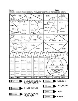 Halloween Multiplication Coloring Fun