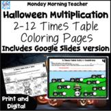 Halloween Multiplication Coloring Printables 2-12 Times Ta