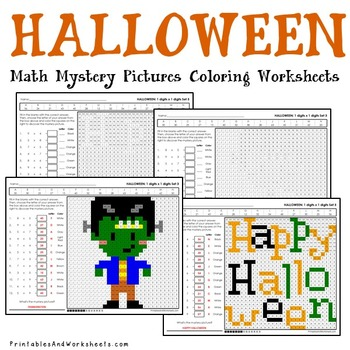 Halloween Multiplication Worksheets, Math Mystery Pictures Coloring Sheets