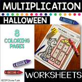 Halloween Math Multiplication Coloring Worksheets Roll, Solve and Color