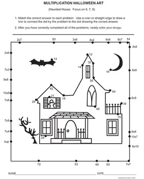 Halloween Multiplication Dot to Dot Art