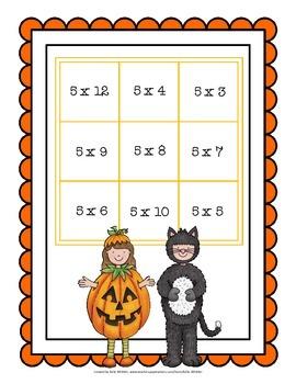 Halloween Multiplication Fact Practice - Facts 0 - 12 - Tic Tac Toe