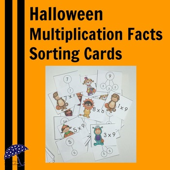 Halloween Multiplication Facts Matching Cards