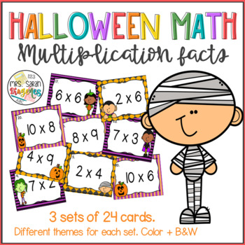 Halloween Multiplication Facts Task cards